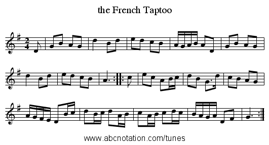 the French Taptoo - staff notation