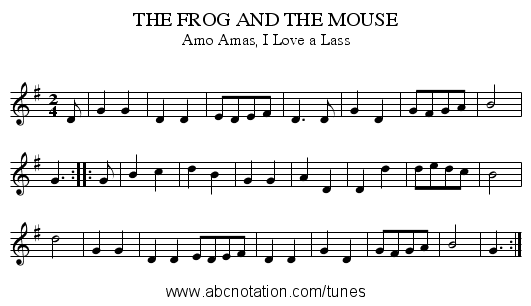 THE FROG AND THE MOUSE - staff notation