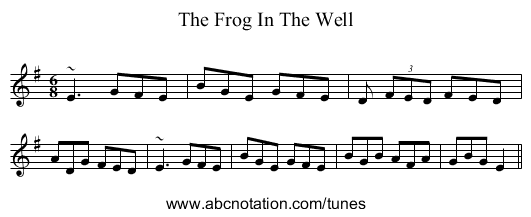 The Frog In The Well - staff notation
