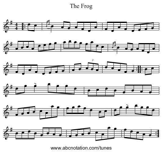 The Frog - staff notation