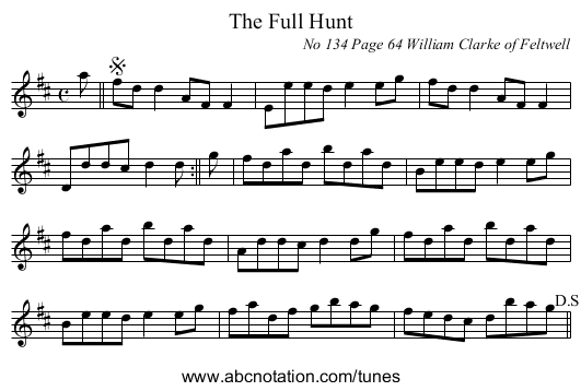 The Full Hunt - staff notation