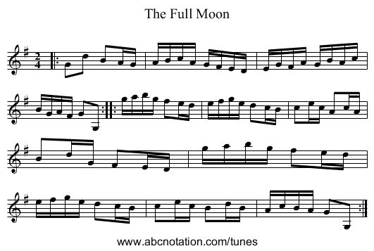 The Full Moon - staff notation