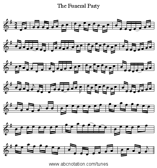 The Funeral Party - staff notation