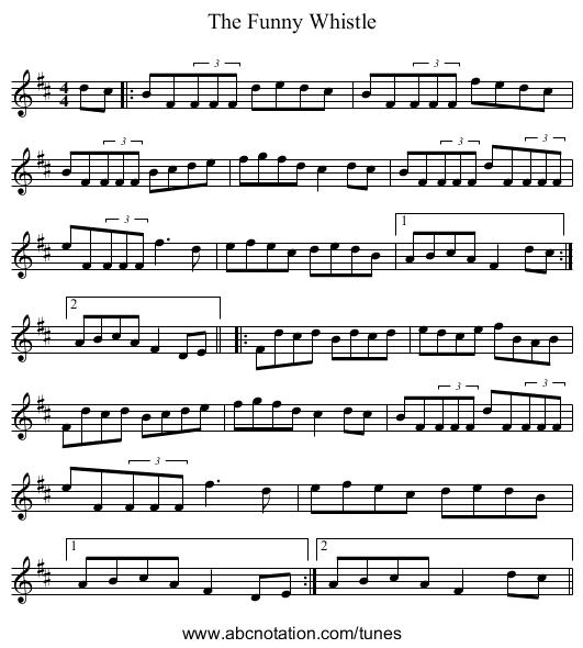 The Funny Whistle - staff notation
