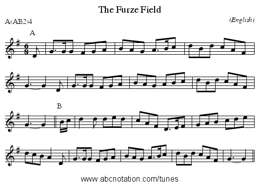 The Furze Field - staff notation
