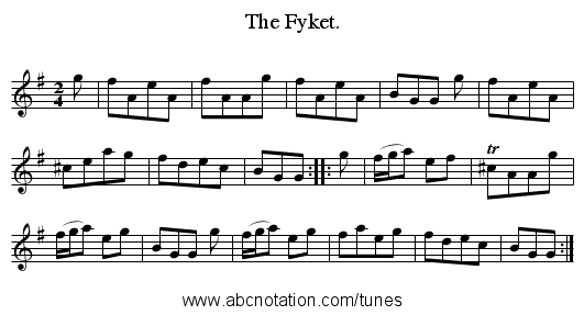 The Fyket. - staff notation