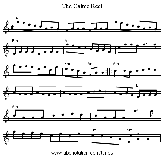 The Galtee Reel - staff notation