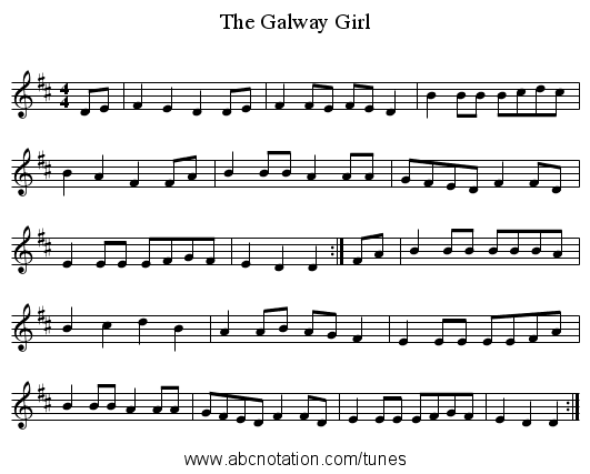 The Galway Girl - staff notation