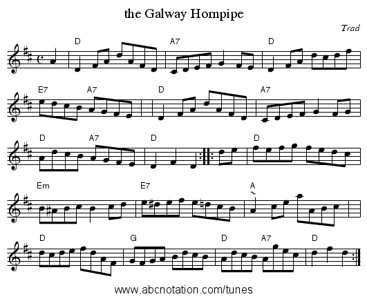 the Galway Hornpipe - staff notation