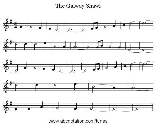 The Galway Shawl - staff notation