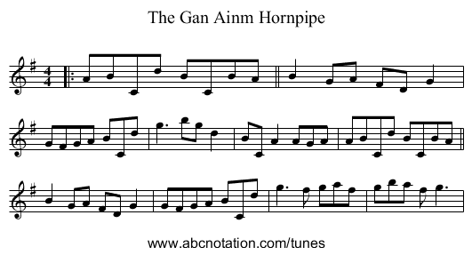 The Gan Ainm Hornpipe - staff notation