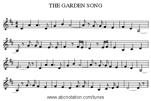 THE GARDEN SONG - staff notation
