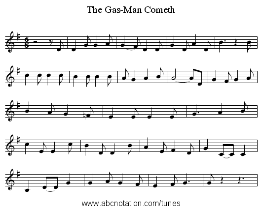 The Gas-Man Cometh - staff notation