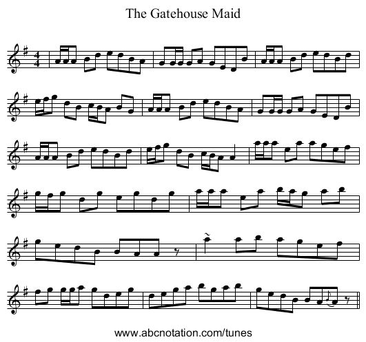 The Gatehouse Maid - staff notation