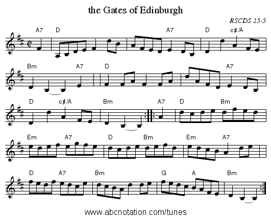 the Gates of Edinburgh - staff notation