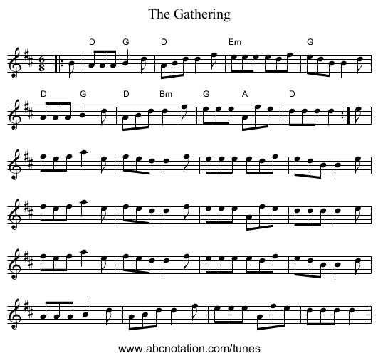 The Gathering - staff notation