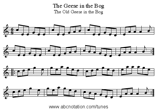 The Geese in the Bog - staff notation