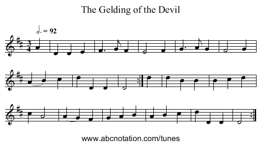 The Gelding of the Devil - staff notation