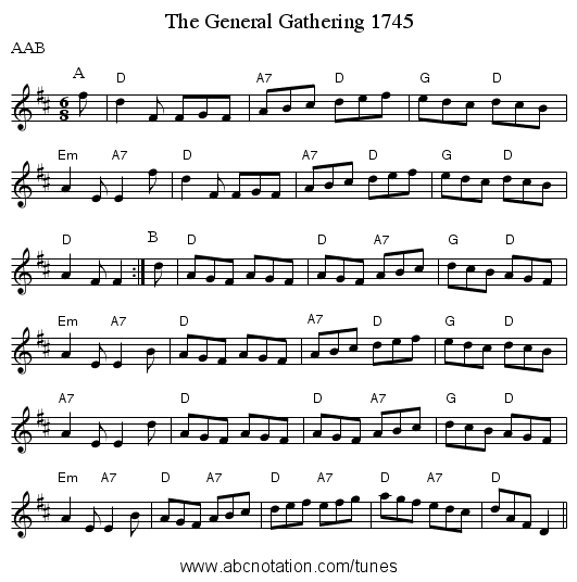 The General Gathering 1745 - staff notation