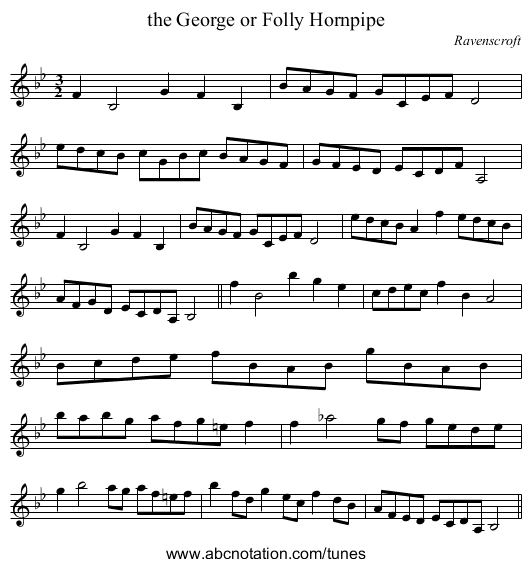 the George or Folly Hornpipe - staff notation
