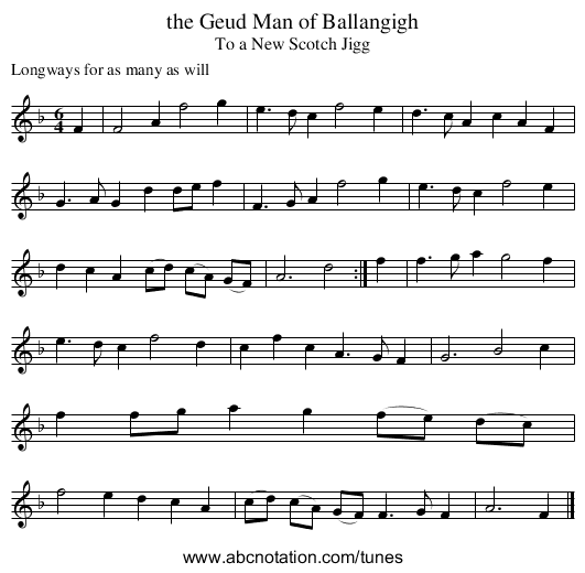 the Geud Man of Ballangigh - staff notation