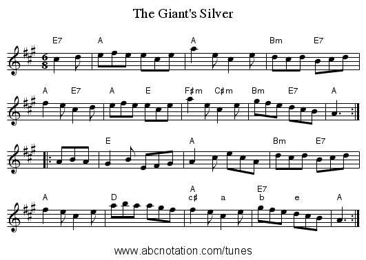 The Giant's Silver - staff notation