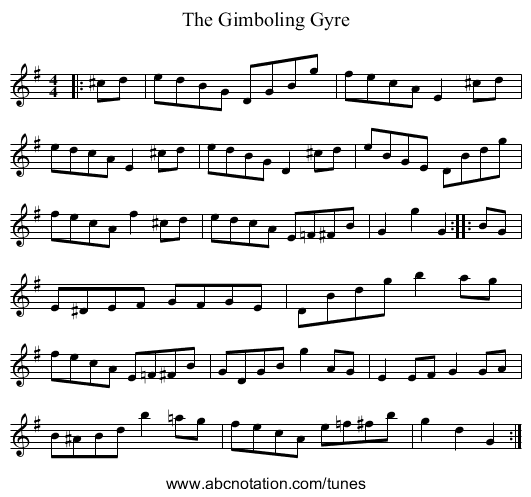 The Gimboling Gyre - staff notation