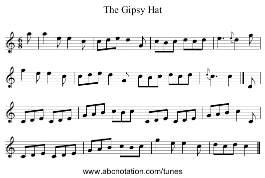 The Gipsy Hat - staff notation