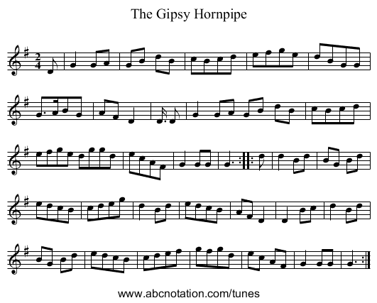 The Gipsy Hornpipe - staff notation