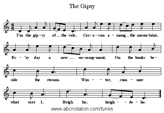 The Gipsy - staff notation