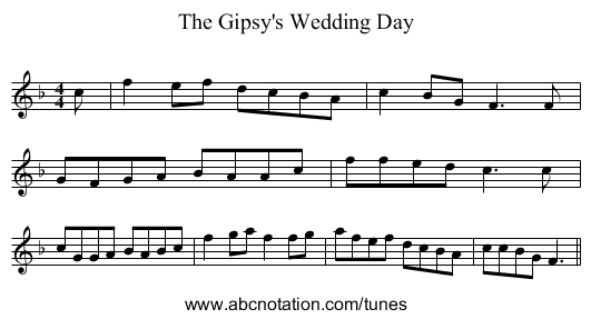 The Gipsy's Wedding Day - staff notation