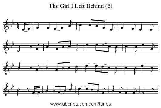 The Girl I Left Behind (6) - staff notation