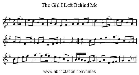 The Girl I Left Behind Me - staff notation