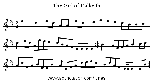 The Girl of Dalkeith - staff notation