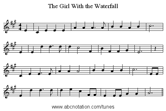 The Girl With the Waterfall - staff notation