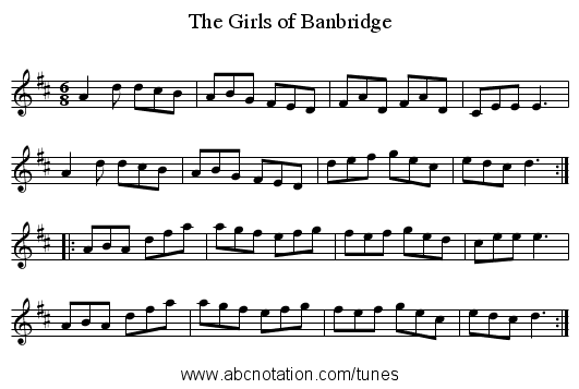 The Girls of Banbridge - staff notation