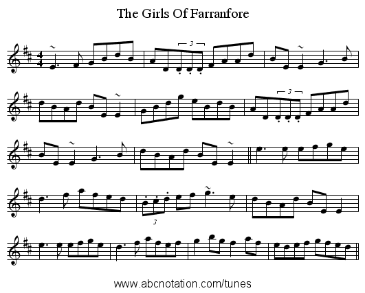 The Girls Of Farranfore - staff notation