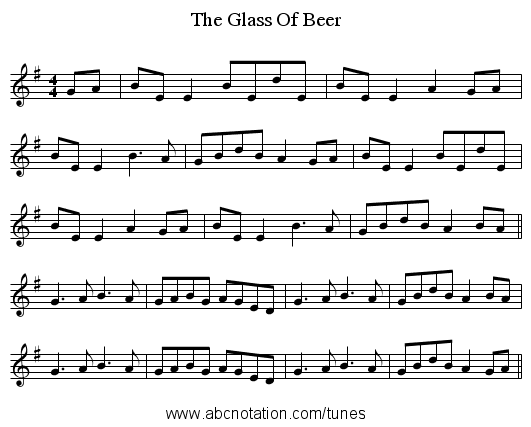 The Glass Of Beer - staff notation