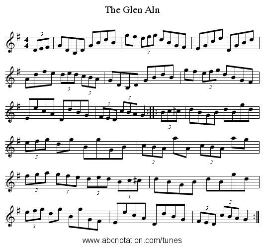 The Glen Aln - staff notation