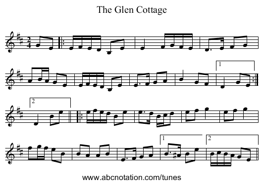 The Glen Cottage - staff notation
