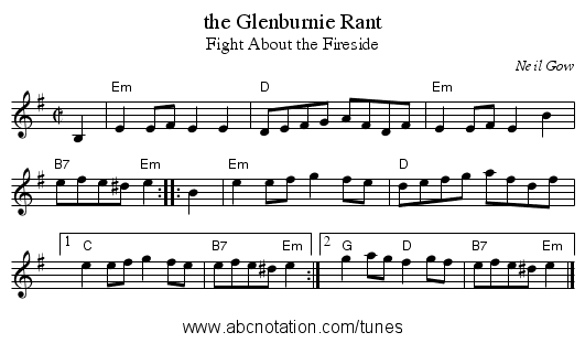 the Glenburnie Rant - staff notation