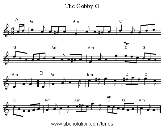 The Gobby O - staff notation