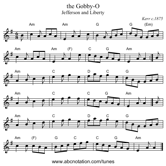 the Gobby-O - staff notation