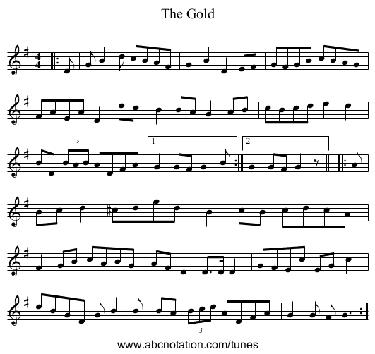 The Gold March - staff notation