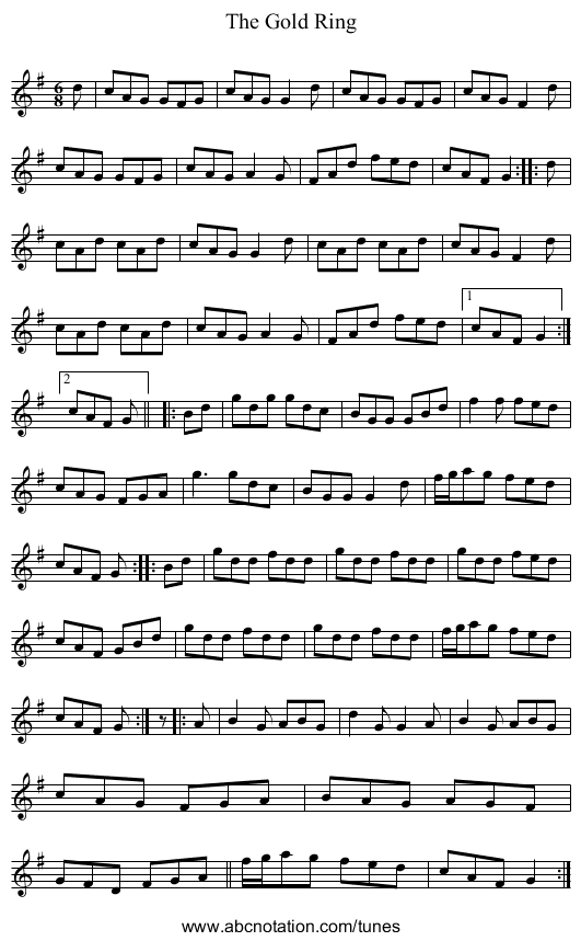The Gold Ring - staff notation