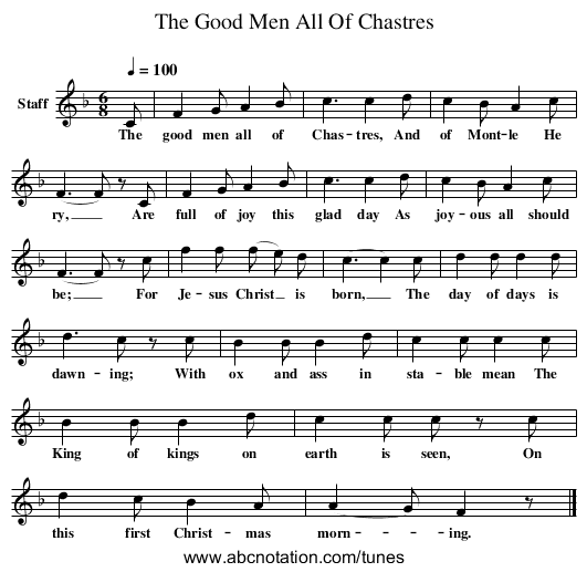 The Good Men All Of Chastres - staff notation