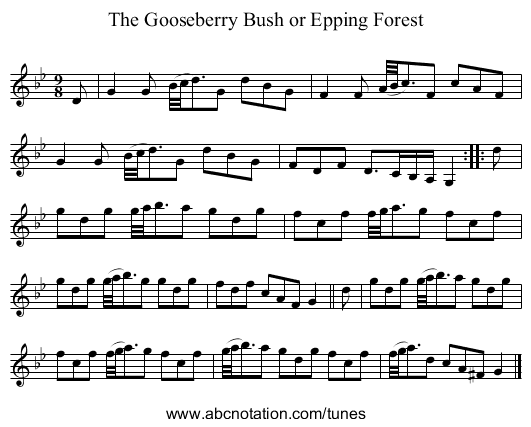 The Gooseberry Bush or Epping Forest - staff notation