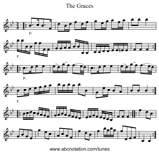 The Graces - staff notation