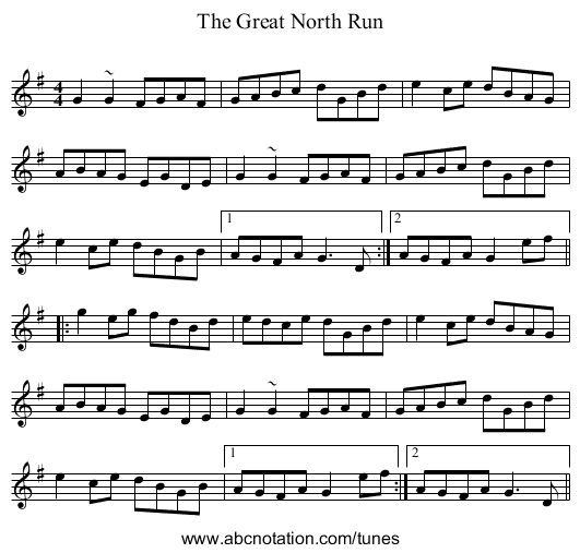 The Great North Run - staff notation