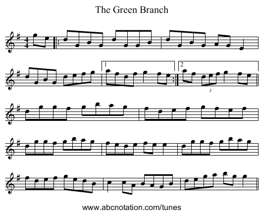 The Green Branch - staff notation